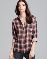 LA't by L'AGENCE Blouse - Long Sleeve Plaid One Pocket