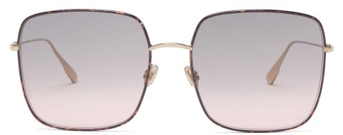 Christian Dior Diorstellaire Square Acetate & Metal Sunglasses - Tortoiseshell