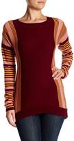 Sofia Cashmere Hi Lo Stripe Crewneck Cashmere Sweater