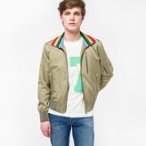 Paul Smith Men's Khaki Cotton And Cupro-Blend Pilot Jacket With Stripe Collar