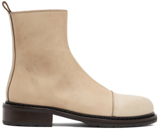 Ann Demeulemeester Beige Leather Zip-Up Boots