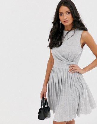 Asos Design DESIGN sleeveless pleated mini dress with twist front-Grey