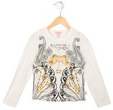Roberto Cavalli Girls' Jewel-Embellished Printed Top w/ Tags