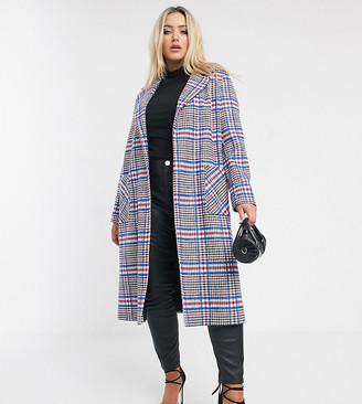 Helene Berman Plus Ruth oversized check coat in wool blend