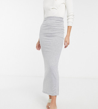 Asos Tall ASOS DESIGN Tall maxi column skirt in grey rib
