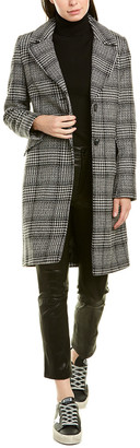 French Connection Short Plaid Wool-Blend Coat