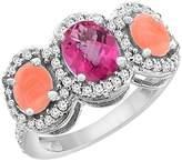 PIERA 10K White Gold Natural Sapphire & Coral 3-Stone Ring Oval Diamond Accent, size 7.5