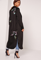 Missguided Oriental Embroidered Duster Jacket Black