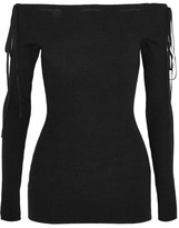 Adeam - Off-the-shoulder Ribbed-knit Top - Black