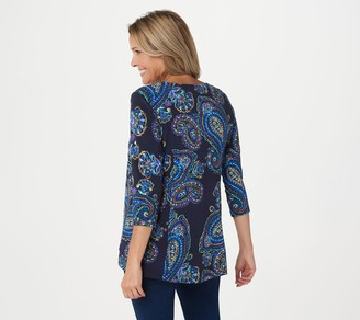 Susan Graver Printed Liquid Knit Fit & Flare 3/4-Sleeve Top