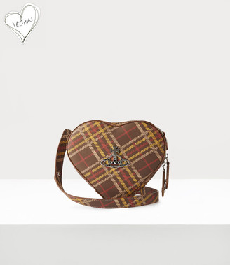 Vivienne Westwood Johanna Heart Crossbody Bag Brown Tartan