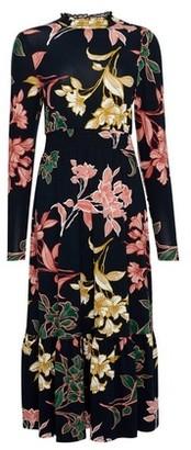 Dorothy Perkins Womens Petite Navy Floral Print Skater Dress