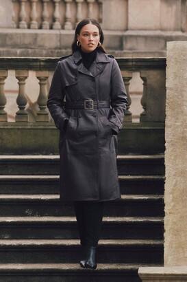 Karen Millen Curve Leather Trench Coat