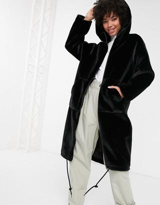 Monki faux fur hooded midi coat in black