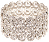 Natasha Accessories Triple Row Crystal Medallion Stretch Bracelet
