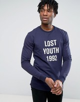 Pull&Bear Sweatshirt With Lost Youth Slogan In Navy