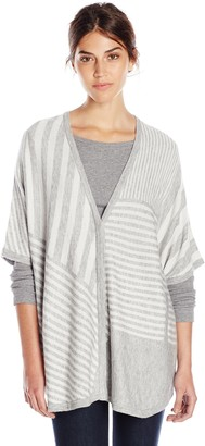 Splendid Women's Op-Art Stripe Cashmere Blend Sweater Poncho