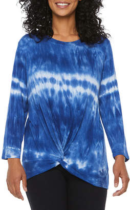 ST. JOHN'S BAY SJB ACTIVE Active-Womens Round Neck Twist Front Long Sleeve T-Shirt Petite