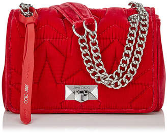 Jimmy Choo HELIA SHOULDER BAG/S Chilli Velvet Shoulder Bag with Chain Strap