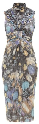 Peter Pilotto Fireworks-print Plisse Lame Dress - Black Multi
