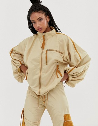 ZYA track jacket with drawstring sleeves co-ord