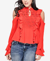 GUESS Cold-Shoulder Ruffled Blouse