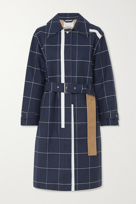 3.1 Phillip Lim Belted Checked Cotton-blend Garbadine Trench Coat - Navy