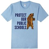 Protect Our Public Schools Grizzly Bear T-Shirt (Blue Font)