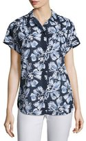 Lafayette 148 New York Irina Short-Sleeve Floral-Print Blouse, Multi