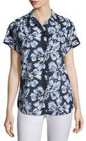 Lafayette 148 New York Irina Short-Sleeve Floral-Print Blouse, Multi