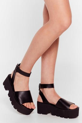 Nasty Gal Womens Mule Thank Us Later Faux Leather Chunky Sandals - Black - 3