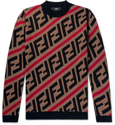 Fendi Logo-Jacquard Wool Sweater