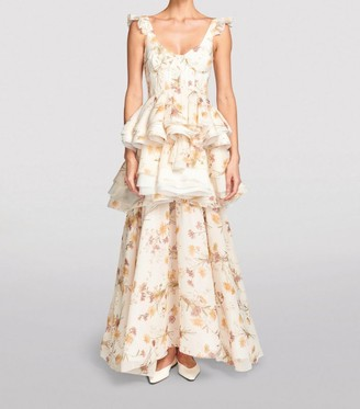 Brock Collection Floral Tiered Silkgown