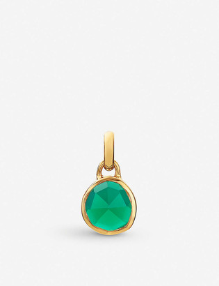 Monica Vinader Siren mini 18ct rose gold-plated vermeil silver and green onyx pendant