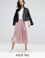 ASOS Tall ASOS TALL Pleated Midi Skirt in Velvet