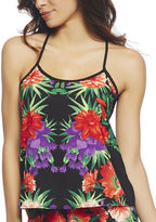 Arden B Tropical Flower Chiffon Swing Tank
