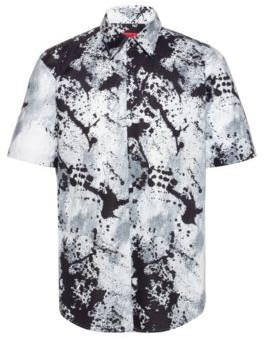 HUGO BOSS Slim Fit Shirt In Cotton Canvas With Abstract Print - Dark Grey