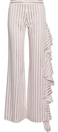 Alexis Ruffled Satin-Trimmed Striped Twill Wide-Leg Pants