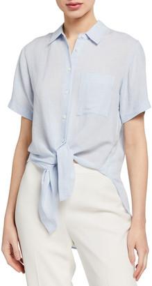 Theory Hekanina Linen Tie-Front Blouse