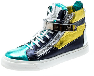 Giuseppe Zanotti Multicolor Metallic Leather High Top Sneakers Size 38.5