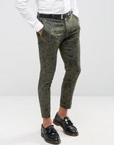 Asos Super Skinny Cropped Smart Pants In Khaki