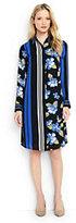 Lands' End Women's Petite Long Sleeve Engineered Stripe Shirt Dress-Octagon Blue Multi Floral