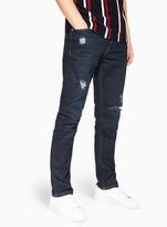 Topman Indigo Ripped Stretch Slim Jeans
