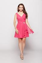 Milano Formals - Sleeveless V Neckline Wrap Mini Dress with Ruffles E1663