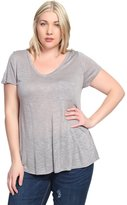 TheMogan Women's Soft Jersey V-neck Short Sleeve Tee W Pocket 2XL