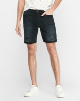 Express Ripped Dark Wash Hyper Stretch Jean Shorts