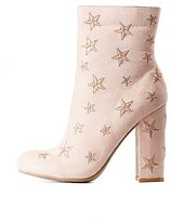 Charlotte Russe Star Embroidered Ankle Boots