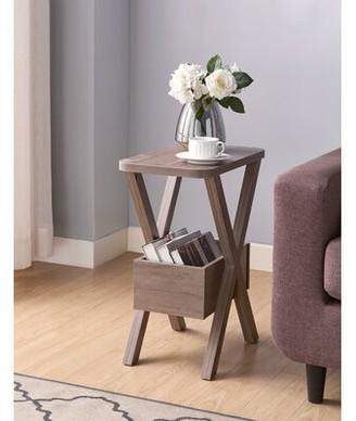 Gracie Oaks Novogratz Cross Legs End Table with Storage Color: Hazelnut