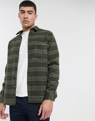 Asos DESIGN wool mix regular brushed check overshirt