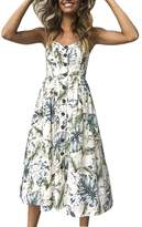 Paixpays Women's Dresses-Summer Floral Bohemian Spaghetti Strap Button Swing Midi Dress